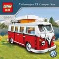 En stock 1354 unids 2017 nueva lepin 21001 creador volkswagen t1 camper van modelo kits de construcción juguetes de los ladrillos compatible con 10220