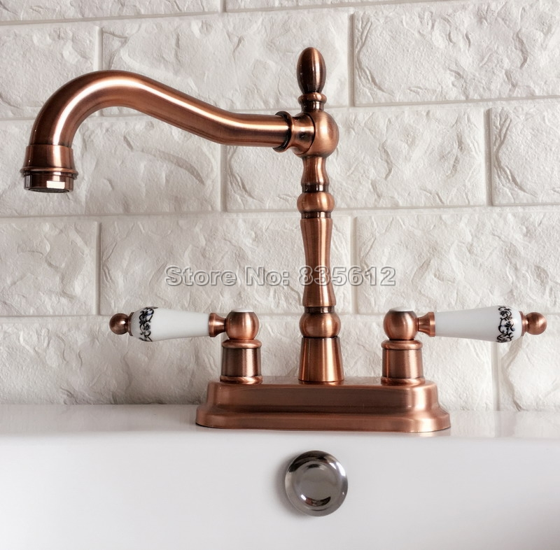 Red Copper 360 Swivel Spout Kitchen & Bathroom Faucet Dual Ceramic Handle Cold and Hot Water Mixer Tap Wash Basin Faucets Wrg051 antique red copper swivel spout kitchen faucet single handle cold and hot water mixer tap wash basin mixer sink faucets wnf388