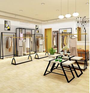 Fashion clothing store display rack women's clothing store hanging clothes shelves floor to ceiling wall combination display.