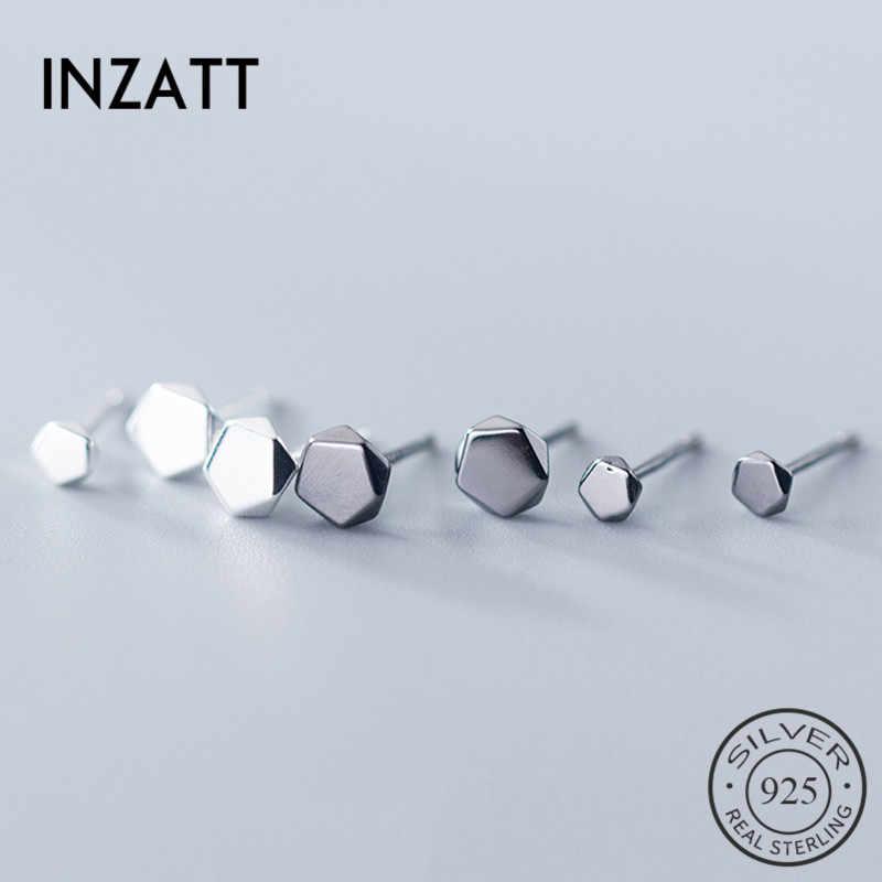 INZATT จริง 925 เงินสเตอร์ลิงรูปทรงเรขาคณิตรูปหลายเหลี่ยมต่างหูแฟชั่นผู้หญิง MInimalist เครื่องประดับ Fine 2019 อุปกรณ์เสริมของขวัญ