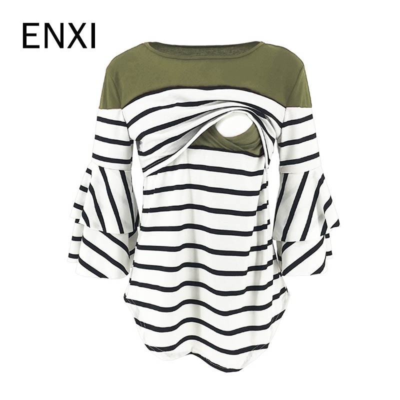 ENXI 2019 Maternity Clothes Stripe Split Joint Horn Sleeve Tops Lactation T-shirt Breastfeeding Clothes