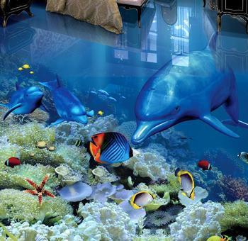 3 d murales para suelos mundo submarino delfines papel pintado para la habitación de los niños 3d pisos foto papel pintado murales HD piso