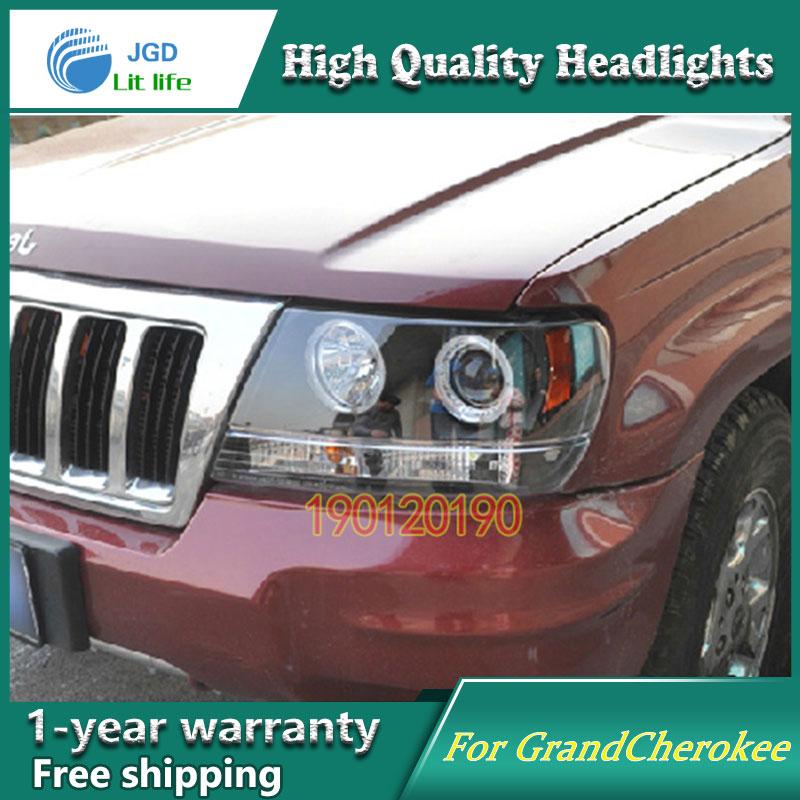Бренд JGD Новый стайлинг для Jeep GrandCherokee светодиодные фары 1999-2004 фары Би-Ксеноновые лампы головного света светодиодные DRL огни автомобиля