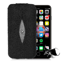 Fashion Genuine Pearl fish Stingray Skin Leather Case For iPhone X Luxury Magnetic Flip Pull Pouch Bags For Apple iPhone X Cases