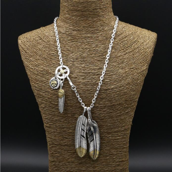 56 9g Solid 925 Sterling Silver Long Necklace Men Vintage Indian Style Gold Eye Claw Feather
