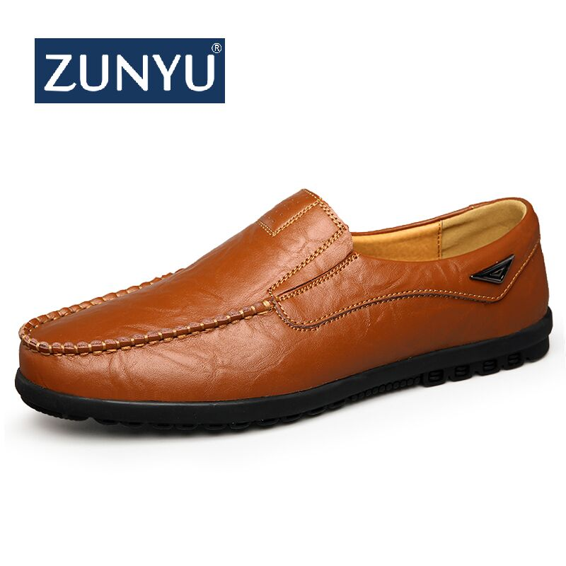 ZUNYU Genuine Leather Men Casual Shoes Luxury Brand New Mens Loafers Moccasins Breathable Slip on Black Driving Shoes Plus Size