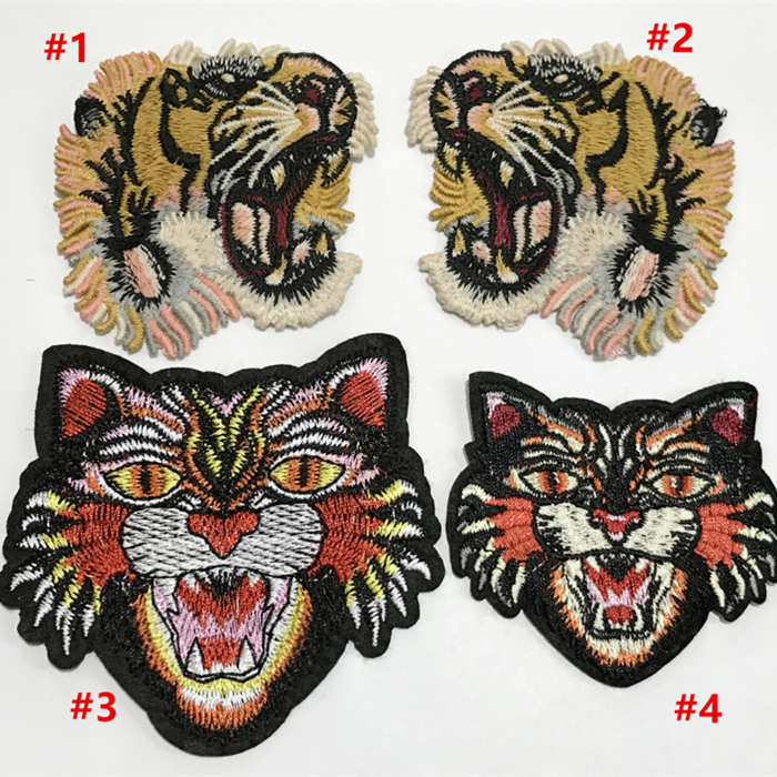 5Pcs/Lot Fashion Patch Animal Tiger Head Embroidery Patches for Clothing Shoes Socks DIY Accessories,YN524