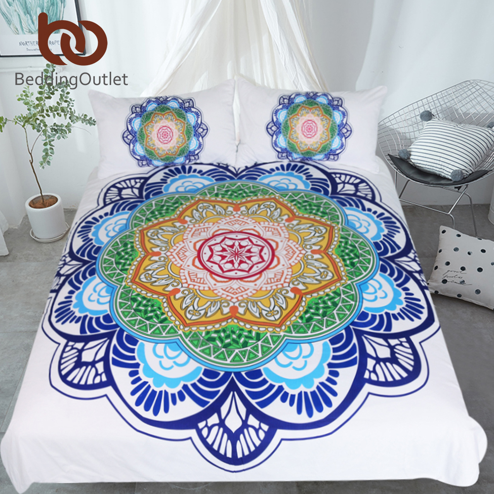 BeddingOutlet Mandala Bedding Set King Size Bohemian Bed Set for Adults Boho Flower Print Duvet Cover Colorful Home TextilesBeddingOutlet Mandala Bedding Set King Size Bohemian Bed Set for Adults Boho Flower Print Duvet Cover Colorful Home Textiles