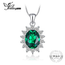 JewelryPalace Princess Diana William Middleton's 2.5ct Created Emerald 925 Sterling Silver Pendant Without a Chain
