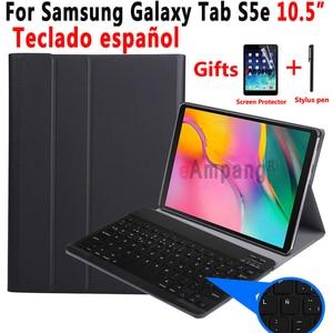 Image 1 - ספרדית מקלדת Case עבור Samsung Galaxy Tab S5e 10.5 2019 T720 SM T720 SM T725 Tablet Slim עור כיסוי מקלדת Bluetooth
