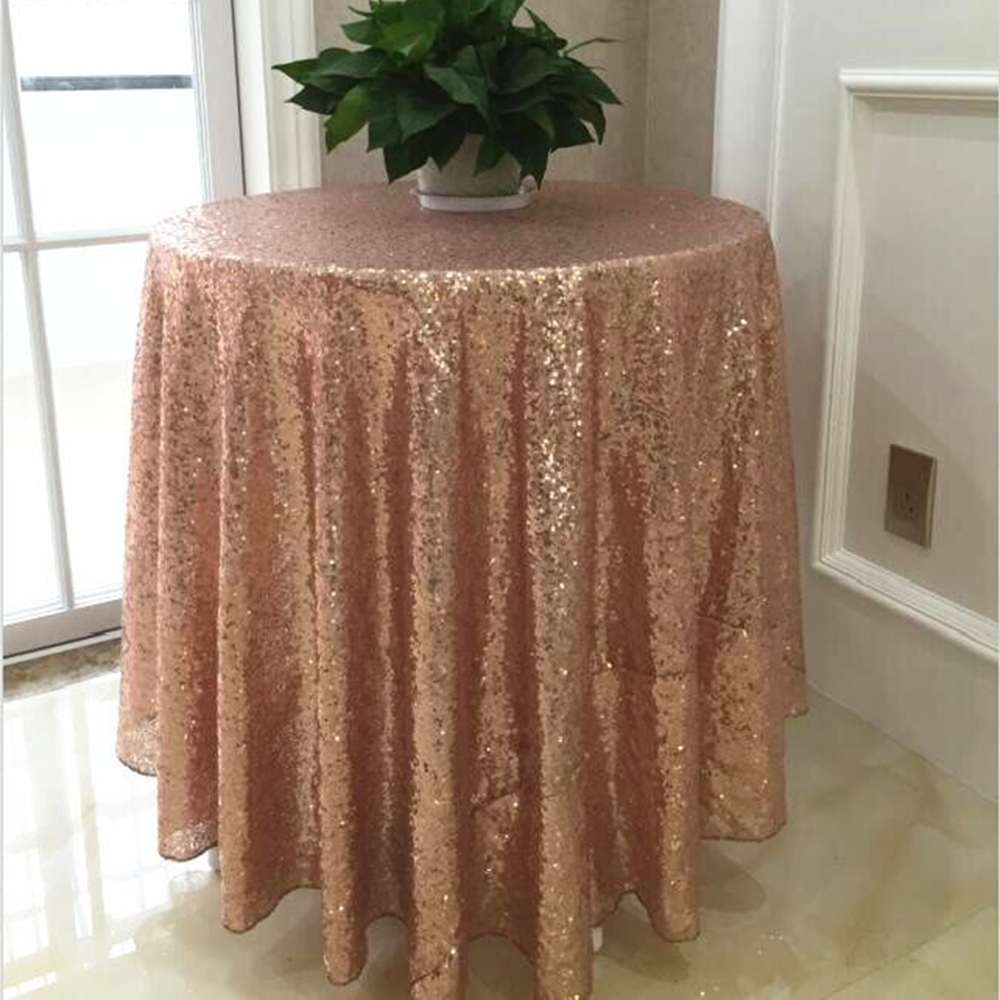 96 inch round tablecloth - Rose Gold Sequin Tablecloth 96 Round Sequin Tablecloth Elegant Table Cloth Banquet Table Cloth Table Cover In Tablecloths From Home Garden On