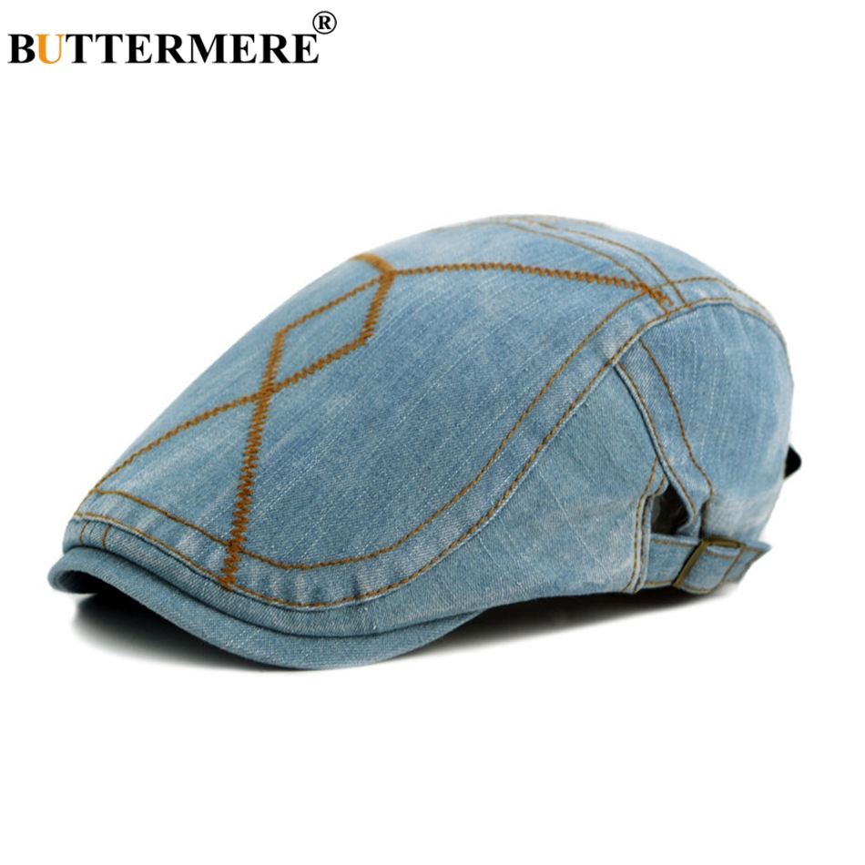 BUTTERMERE Vintage Men Berets Cap Male Flat Hats Denim Casual Spring Summer Gatsby Caps Adjustable Fashion Designer Classic in Men 39 s Berets from Apparel Accessories