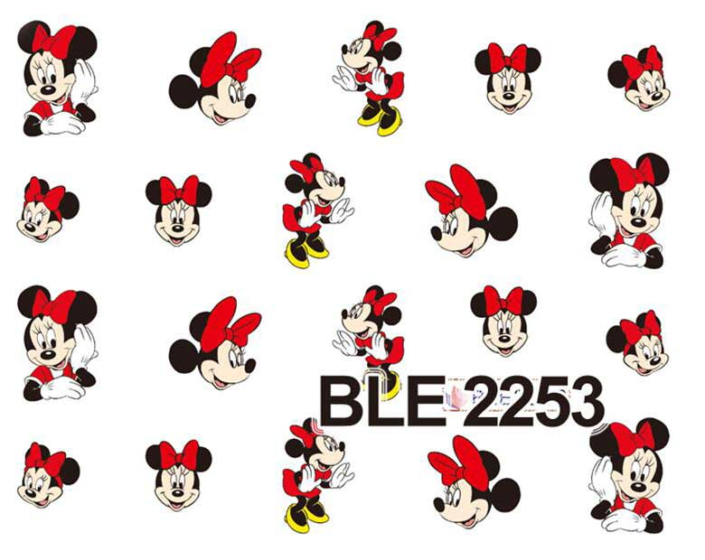 цена  5PCS Selling Hot BLE2253/BLE 2255 Nail Art Sticker Cartoon Character Mickey & Minnie For Nail Tips Decoration Nail Accessories  онлайн в 2017 году