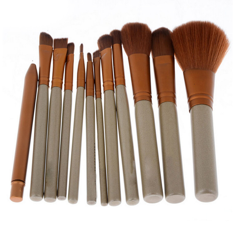 Pinceles de Maquillaje de oro 12 Unids Superior Profesional Soft Cosméticos Maqu