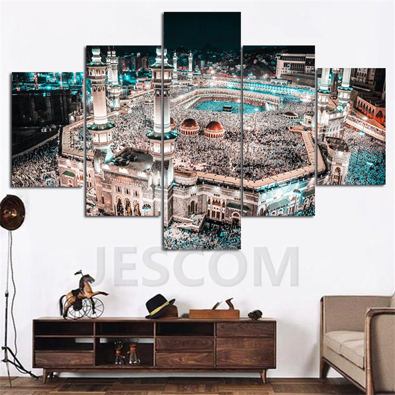 Modular Home Decor Canvas High Quanlity 5 Panel Muslim Frame Modern Wall Art Islam Pictures For Living Room Kids Room Painting
