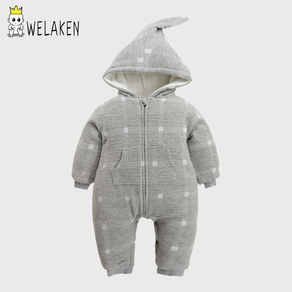 welaken Two Colors Hoodies Baby Rompers Winter Warm Boys Girls Clothing Long Sleeve Thick Baby Clothes Kids Newborn Outfits 0 3y baby boys girls infants clothes long sleeve rompers outfits newborn infant kids winter clothing jumpsuits baby outwear