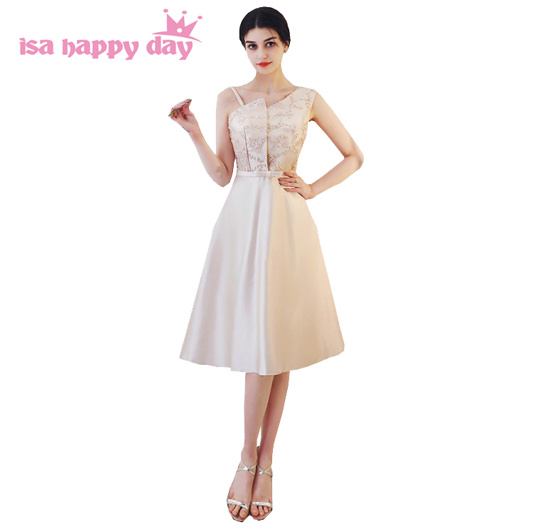 robe de soiree champagne color woman one shoulder short ball gown ...