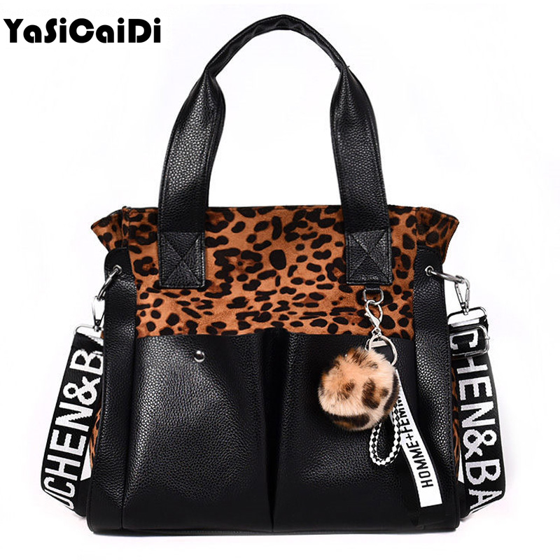 Patchwork Women Shoulder Bags Fur Ball Fashion PU Leather Letter Bag Famous Brand Leopard Women Tote Bag Tassel Female Handbag