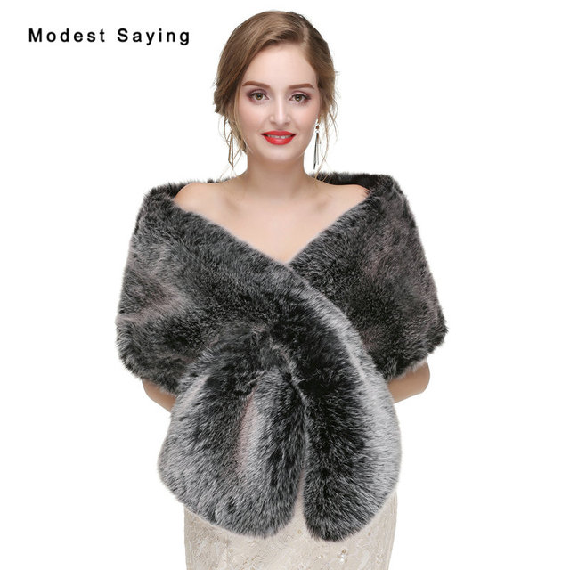 Modest Grey Warm Faux Fur Wedding Shrugs 2017 Long Bridal Shawls Boleros Stoles Wraps