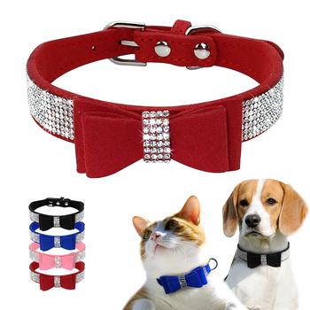 Bling Rhinestone Puppy Cat Collars Adjustable Leather Bowknot Kitten Collar For Small Medium Dogs Cats Chihuahua Pug Yorkshire 1
