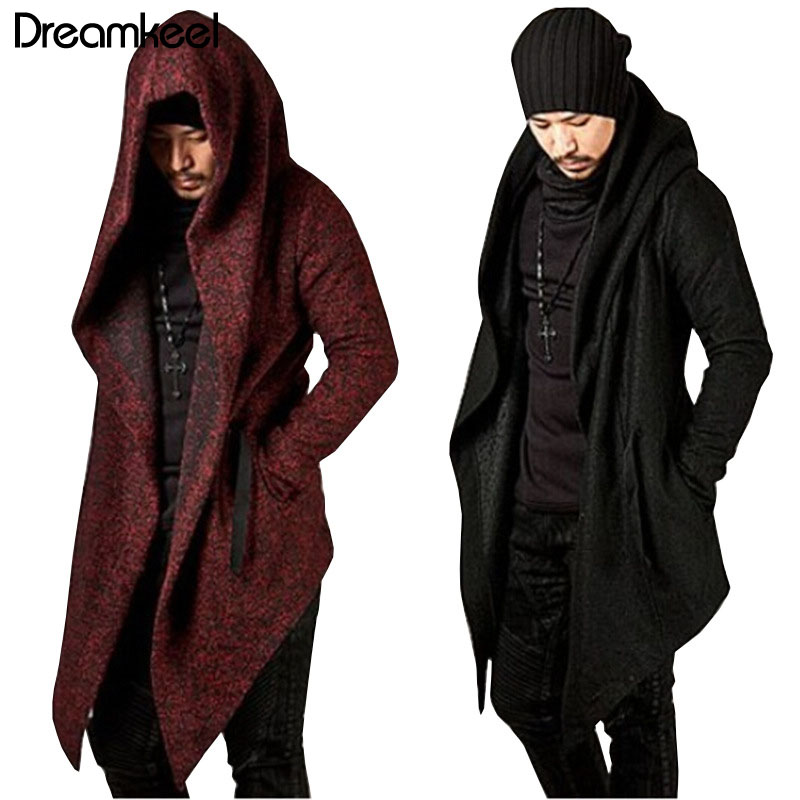 2019 Men Hooded Sweatshirts Black Hip Hop Mantle Hoodies Fashion Jacket Long Sleeves Cloak Man's Coats Outwear Hot Sale Y