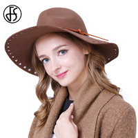 Vintage Wool Black Panama Fedora Hats For Winter Women Camel Red Cowboy Hat With Large Brim