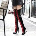 Mulheres sapatos de inverno mais de botas de pele de couro Coxa Botas Altas Sexy na altura do joelho rendas até botas de Salto Alto Sapatos de Mulher apontou botas dedo do pé D863