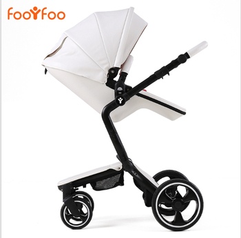 2 in 1 baby stroller leather  foofoo baby luxury fashion for the 4 runner baby carriage pram white black frame newborn baby car