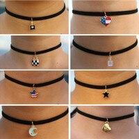 Choker Necklaces Women Black Velvet Suede Leather Chain Short Collares Fashion Jewelry Gothic 90's Bijoux Steampunk ras de cou