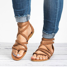 Factory Direct Women Sandals Casual Rome Gladiator Sandals for Summer Shoes Woman Cross Tied Flat Sandals Beach Shoes Female