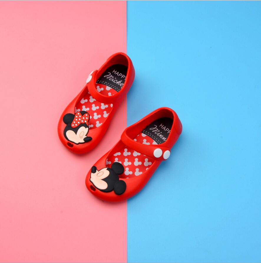 Mini Melissa 2018 kids Jelly Shoes Girls Boys Sandals Baby Melissa Sandals Cartoon Mickey Minnie Little Girl Sandals 14.5-17cm