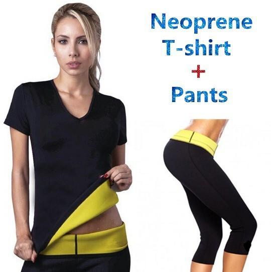 2017 novo (calça + camiseta) super hot shapers controle calcinhas calções mulheres neoprene trecho camisa slimming body shaper