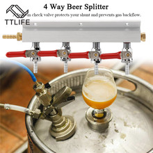 все цены на TTLIFE Muti-way Home Co2 Air Gas Manifold Distribution Splitter Beer 4 Way Integrated Check Valves Homebrew Making Brewing Tool онлайн