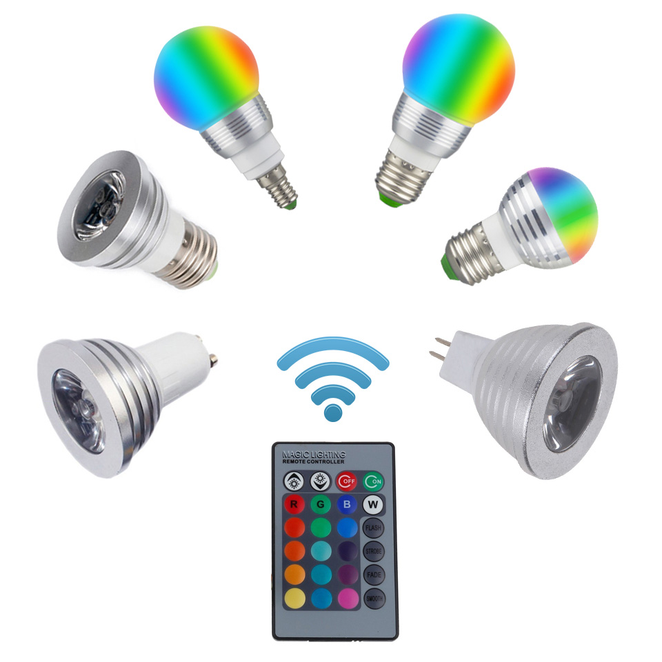 16 Color Changeable RGB Light Bulb E27 E14 RGB LED Spotlight Bulb GU10 MR16 3W 85-265V/12V Home Decoration IR Remote Controller