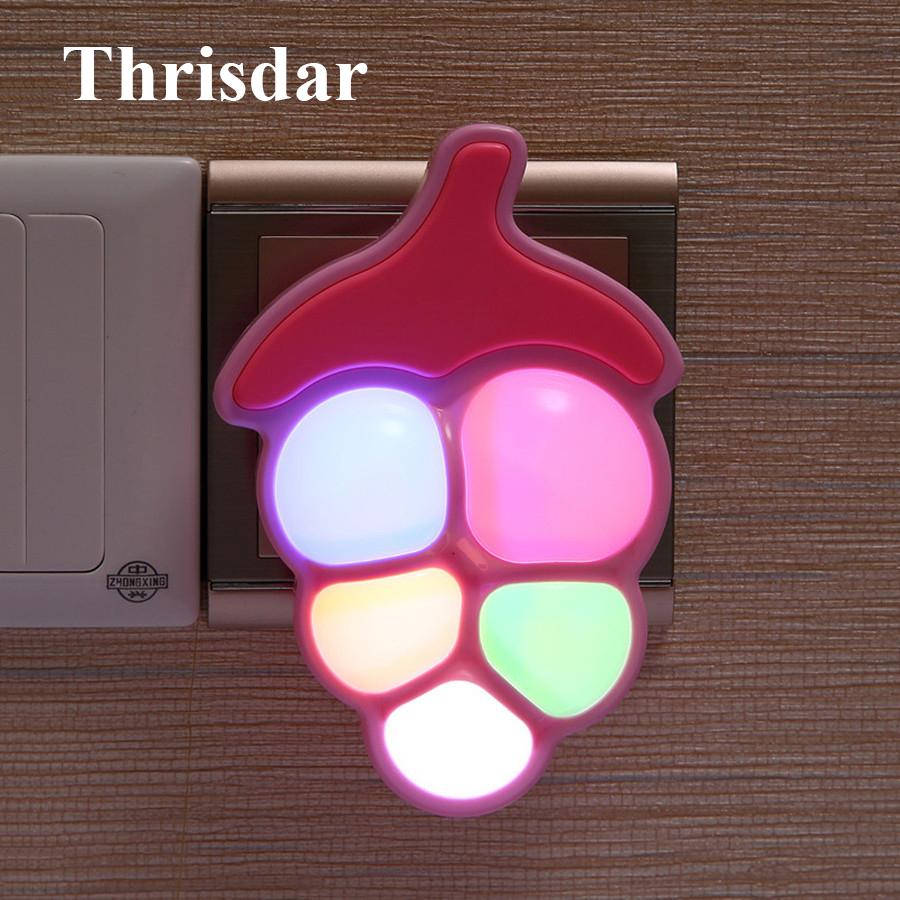 Thrisdar Grape Fruit Novelty LED Night Light US Plug Wall Socket Night Light Auto Light Sensor Bedside Baby Kids Nursery Lamp
