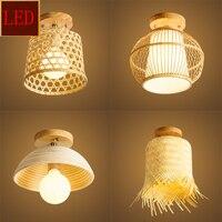 Modern Rattan LED Dome Ceiling Lights Living Room Kitchen Dining & Bar Lighting Bedroom Decoration Ceiling Lamps Bulb Corridor