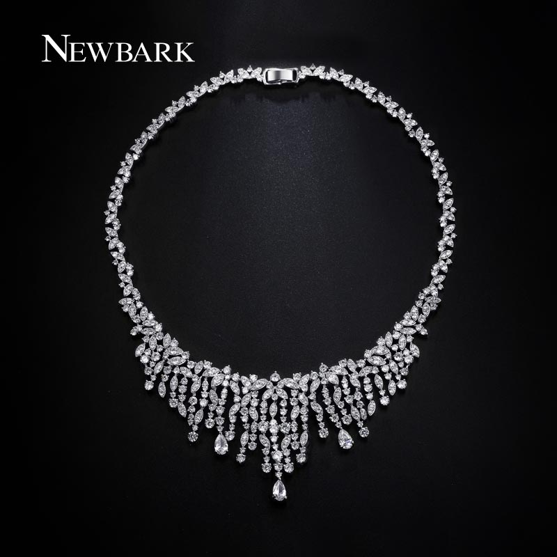 font b Newbark b font Women White Gold Plated Leaf Choker Statement font b Necklace