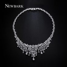 NEWBARK Silver Color Single CZ Statement Necklace Teardrop Paved Cubic Zirconia Stone Tassel Pendant Necklaces For