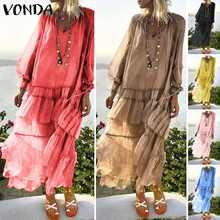 VONDA 2019 Bohemian Summer Women Long Maxi Dress Sexy V Neck Beach Vestido Transparent Casual Vintage Layered Dress Plus Size(China)