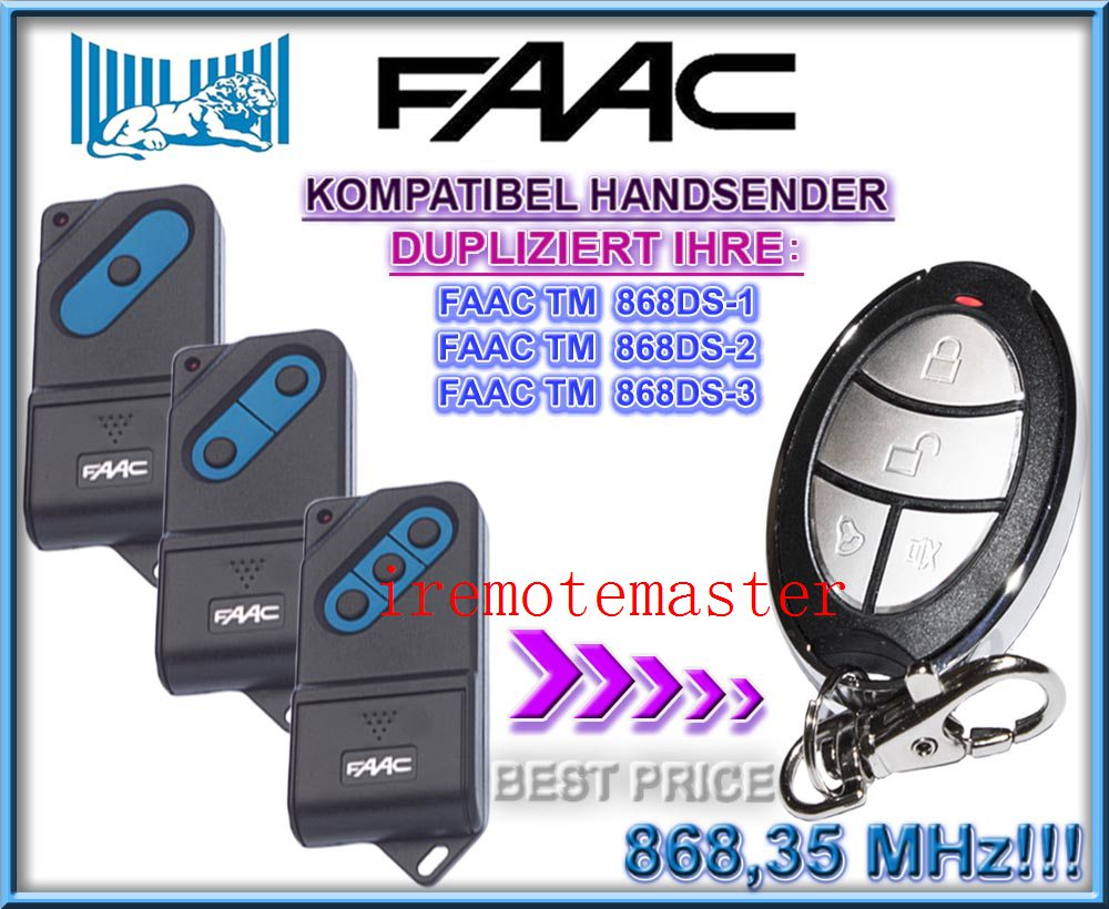 Aftermarket FAAC TM 868DS-1,TM 868DS-2,TM 868DS-3 replacement remote control 868MHZ the remote replace for faac tm 433ds 1 tm 433ds 2 tm 433ds 3 garage door opener fixed code 433mhz