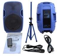 STARAUDIO Blue 153500W Powered Active PA DJ Stage USB SD FM BT Speaker with 1 Stand 1 Wired Microphone SSBM 15