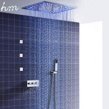 Hm mezclador termostático contemporáneo, Sistema de ducha de 20 pulgadas, ducha de niebla de lluvia con 3 chorros de cuerpo de 2 pulgadas montado en la pared