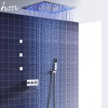 Système de douche à mélangeur thermostatique contemporain de 20 pouces, système de douche brumeuse de pluie avec 3 pièces Jets corporels 2 pouces pour montage mural