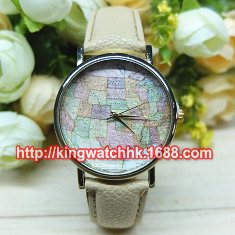 DHL free 100pcs/lot, Vintage Map Watchu North America Map Watch for ladies Women Watches, Fashion States of Jigsaw Wrist watches