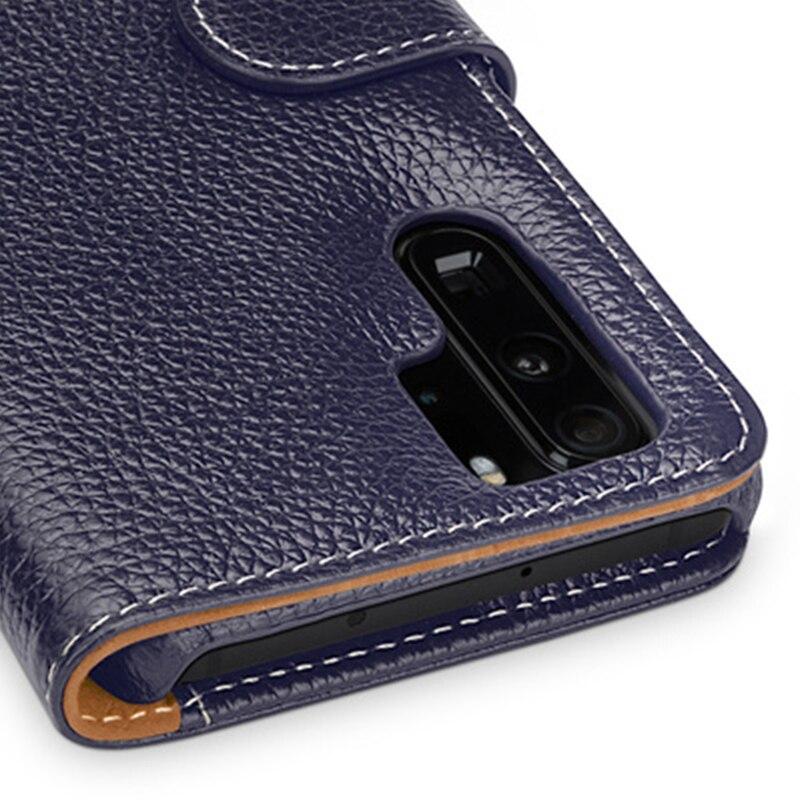 Multi-fonction Portefeuille étui pour Huawei P30 avec Fentes Pour Cartes De Luxe En Cuir Véritable Peau de Téléphone pour Huawei P30 Pro P30 Lite - 4