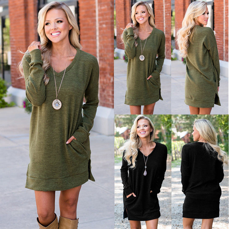 HIRIGIN Newest Hot Womens Winter Long Sleeve Jumper Ladies Loose Casual Short Mini V Neck Dress