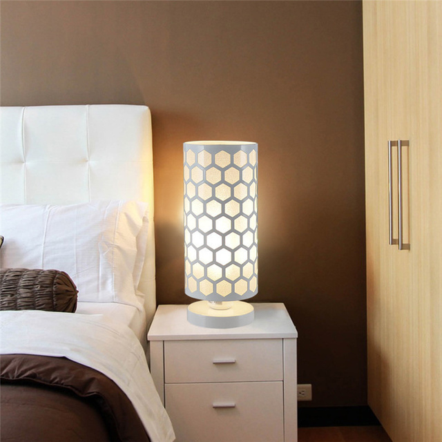 LAIDEYI Modern Hollow Hexagon Pattern Desk Lamp Cylinder Shape ...