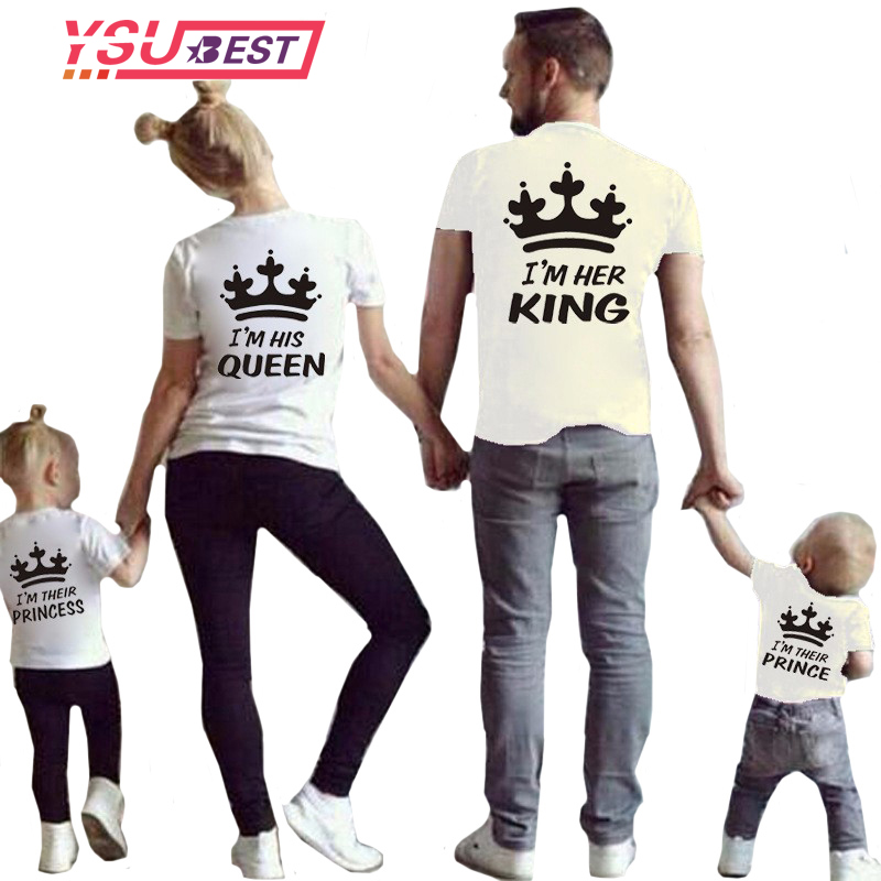 New Mom and Girl Clothes Matching Family Clothes Casual Solid Cotton T-shirt King Queen Couples T shirt Crown Printed Funny Tops lerro definition funny italian family name unisex t shirt