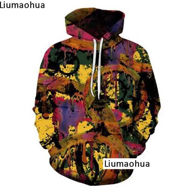 Hip Hop Street Dance Street Dance Hoodie 3D Fun Graffiti Print Fashion Winter Harajuku Street Men's Hoodie Sportswear Pullover