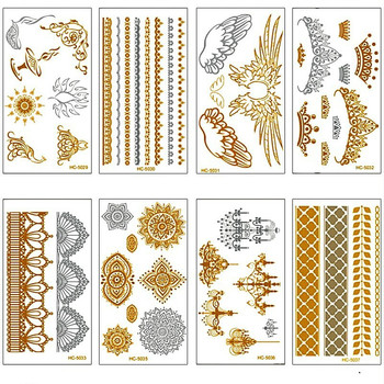 Wholesale New Golden Tattoo Flash Metallic Temporary Tattoo body Tattoos Waterproof Body Art Tatuajes 500pcs/lot free shipping